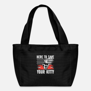 Fire Here To Save Your Kitty Kids Firefighter Thin Red - Lunch Bag