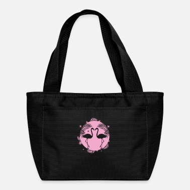 Beak flamingos in love face each other - Lunch Bag