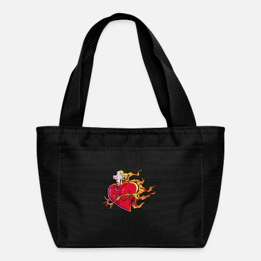 Crosshair heart with cross and fire - Lunch Bag