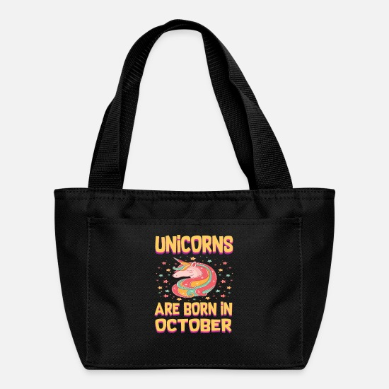 Unicorn Bags & Backpacks - UNICORNS ARE BORN IN OCTOBER OCTOBER BORN UNICOR - Lunch Bag black