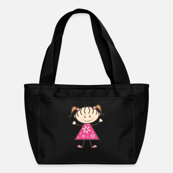 Flowers Bags & Backpacks - Stick Figure Girl Pink - Lunch Box black