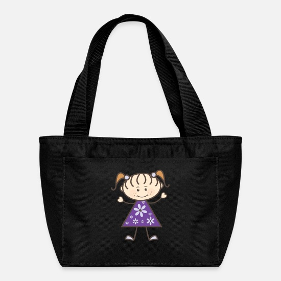 Flowers Bags & Backpacks - Stick Figure Girl Purple - Lunch Box black