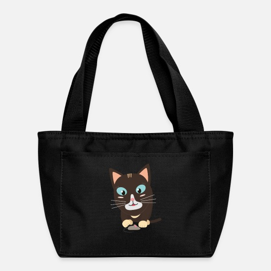 Wool Bags & Backpacks - Cat with toy mouse - Lunch Box black