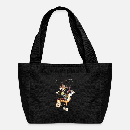 Caricature Bags & Backpacks - Cowboy with western horse - Lunch Box black