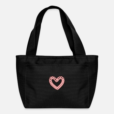 Circle Heart Circle Pink Red Retro Love Twins Look Design - Lunch Bag