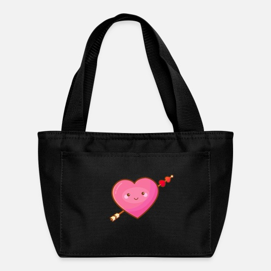 Love Bags & Backpacks - Cute Happy Pink Heart with Arrow - Lunch Bag black