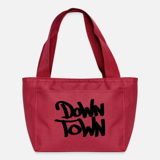 Down Town Typography Bags & Backpacks - Down town - Lunch Bag red