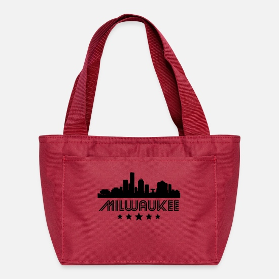 Vintage Bags & Backpacks - Retro Milwaukee Skyline - Lunch Bag red