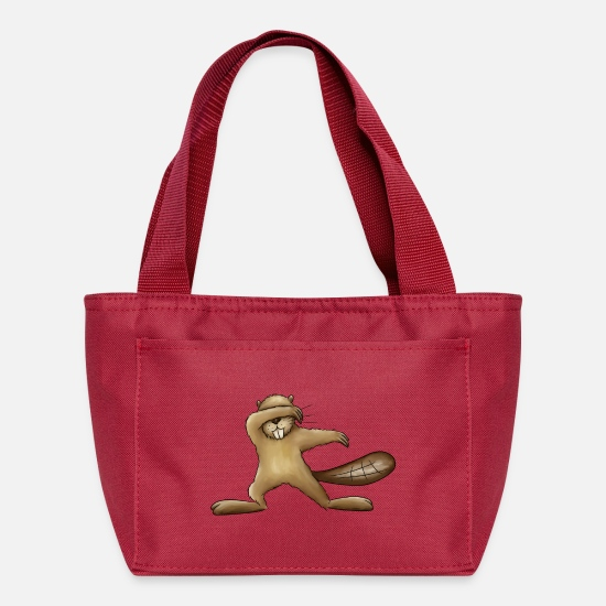 Shelter Bags & Backpacks - Dabbing Beaver Dab Funny Silly Cartoon Rodent Gift - Lunch Bag red