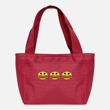 Fast Food Cute happy yummy Kawaii burgers cartoon - Lunch Bag