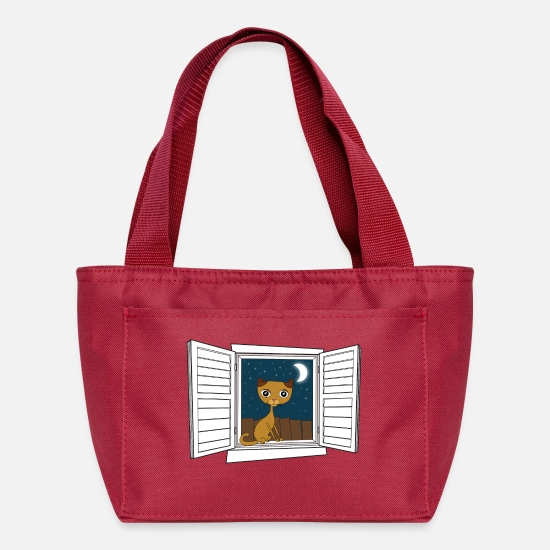 Love Bags & Backpacks - Kitten in the window - Lunch Bag red