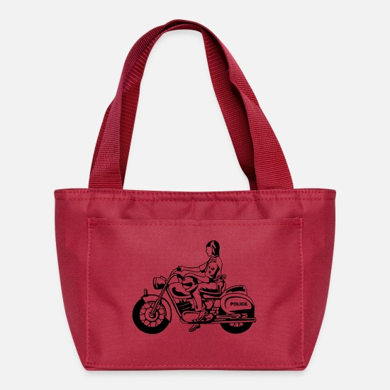 Motorcycle Bags & Backpacks - Police on Motorcycle - Lunch Box red