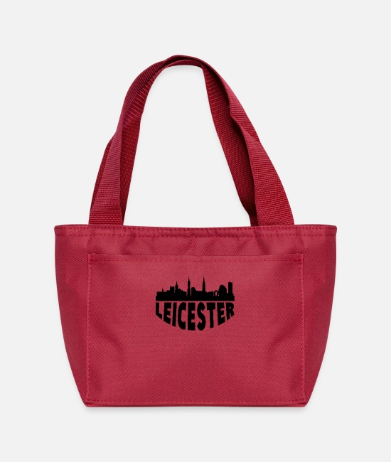English Bags & Backpacks - Leicester England Cityscape Skyline - Lunch Bag red
