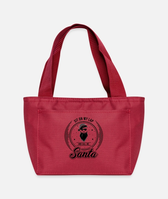Christmas Bags & Backpacks - Santa Claus with Sunglasses and Christmas hat - Lunch Bag red