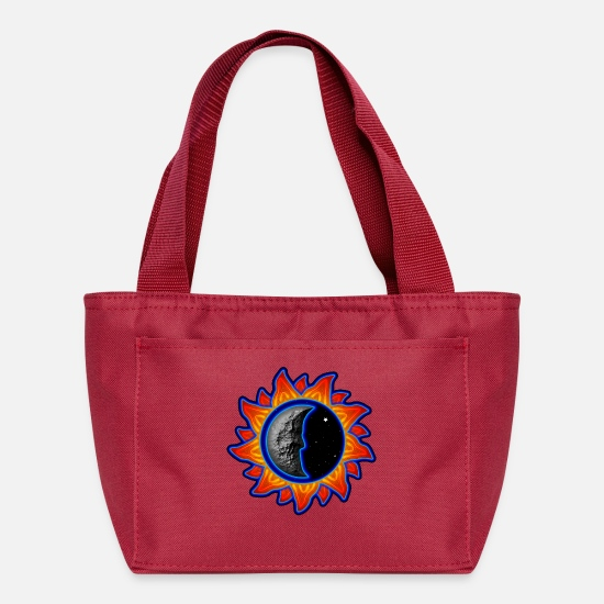 Sunbeam Bags & Backpacks - abstract sun and moon - Lunch Bag red