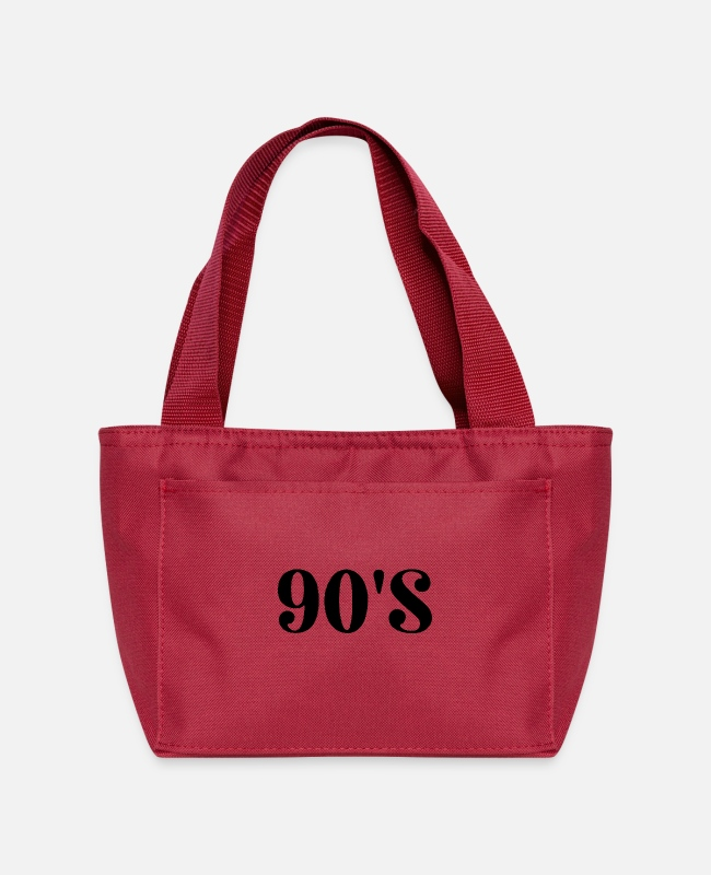Quote Bags & Backpacks - 90'S Text Typography (Black) - Lunch Bag red