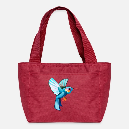 Image Bags & Backpacks - Bird colibri fly wildlife vector clip art children - Lunch Bag red