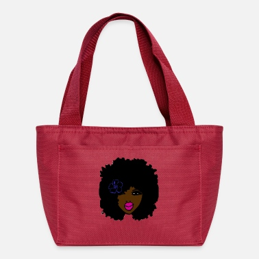 Prettygirl Brownskin Curly Natural Hair Flower Pink Lips - Lunch Bag
