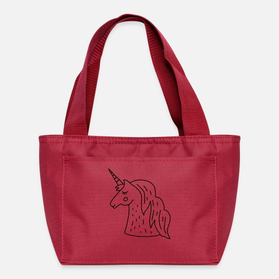 Drawing Bags & Backpacks - unicorn drawing - Lunch Box red