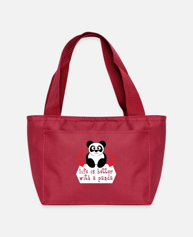 Friendship Bags & Backpacks - The cute & lovely Panda Tee for a panda lover, - Lunch Bag red