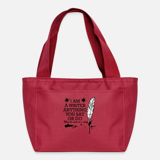 Blogger Bags & Backpacks - writer saying funny pen gift - Lunch Bag red