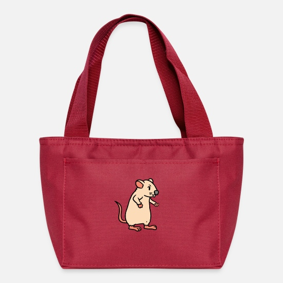 Pet Bags & Backpacks - Mouse Rodent Rat Pets Fantasy Kids - Lunch Bag red