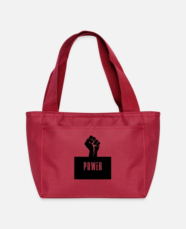 Black History Lunch Boxes - Black Power Raised Fist - Lunch Bag red