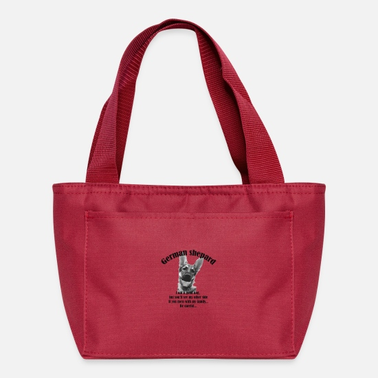 Love Bags & Backpacks - German shepard love - Lunch Bag red