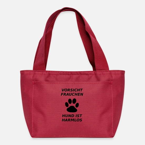 Beware Bags & Backpacks - Caution Mistress - dog is harmless - Lunch Bag red