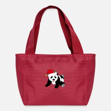 Cute Christmas Panda Bear in Santa Hat - Lunch Bag