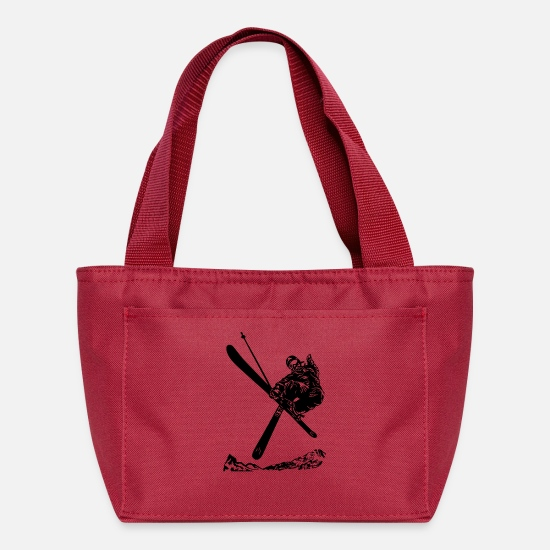 Winter Sports Bags & Backpacks - Skiers on the ski slopes in a sporty and fast way - Lunch Bag red