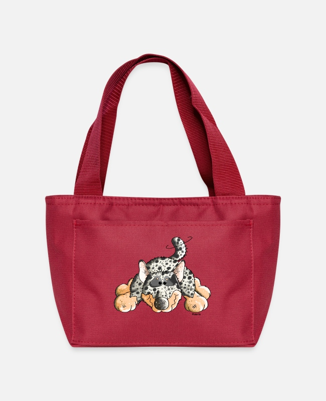 Dog Cartoon Bags & Backpacks - Funny Australian Cattle Dog - Dogs - Lunch Bag red