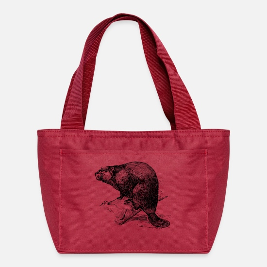 Dyke Bags & Backpacks - beaver biber nagetier rodents wood water4 - Lunch Bag red