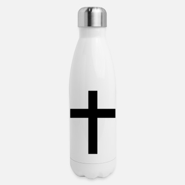 Catholic Cross cross christianity simple catholic black and white - Insulated Stainless Steel Water Bottle