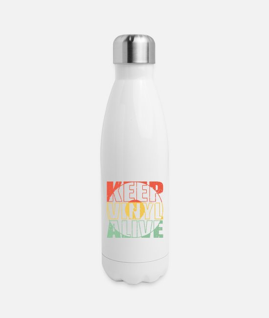 Vinyl Records Mugs & Cups - KEEP VINYL ALIVE record vintage retro gift idea - Insulated Stainless Steel Water Bottle white