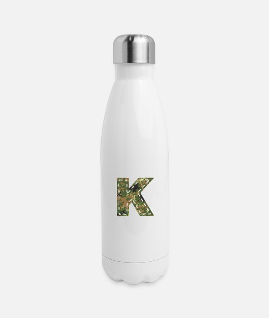 Army Mugs & Cups - K letter camouflage patch sewn army - Insulated Stainless Steel Water Bottle white