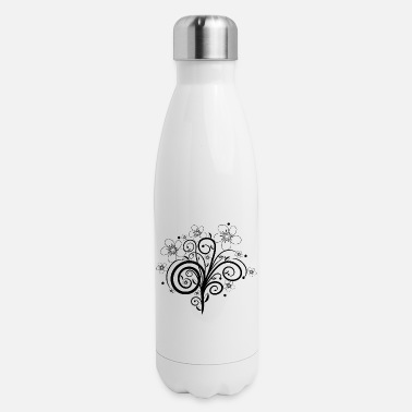 black flower tendril, bloom, flowers, floral petal - Insulated Stainless Steel Water Bottle
