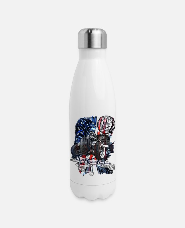 Usa Mugs & Cups - Roadkill V8 Custom Blow Merc Flathead United State - Insulated Stainless Steel Water Bottle white