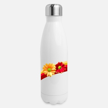 red yellow flowers bloom petals floral flowery - Insulated Stainless Steel Water Bottle