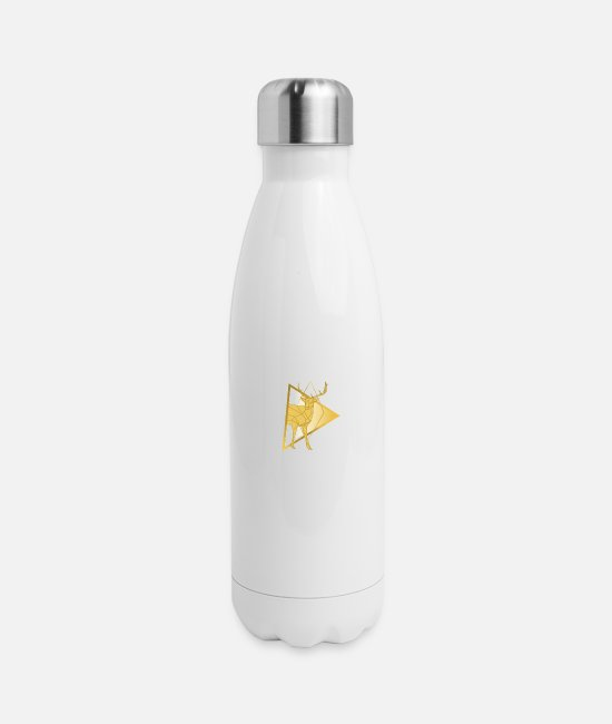 Stag Mugs & Cups - Golden deer design - Insulated Stainless Steel Water Bottle white