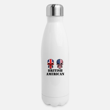 British American Flag British American Flag Skulls - Insulated Stainless Steel Water Bottle