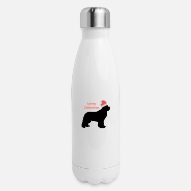 Christmas Design Newfie with Santa Hat - Insulated Stainless Steel Water Bottle