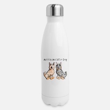 Australian Cattle Dogs Cartoon Two funny Australian Cattle Dogs - Dog - Insulated Stainless Steel Water Bottle