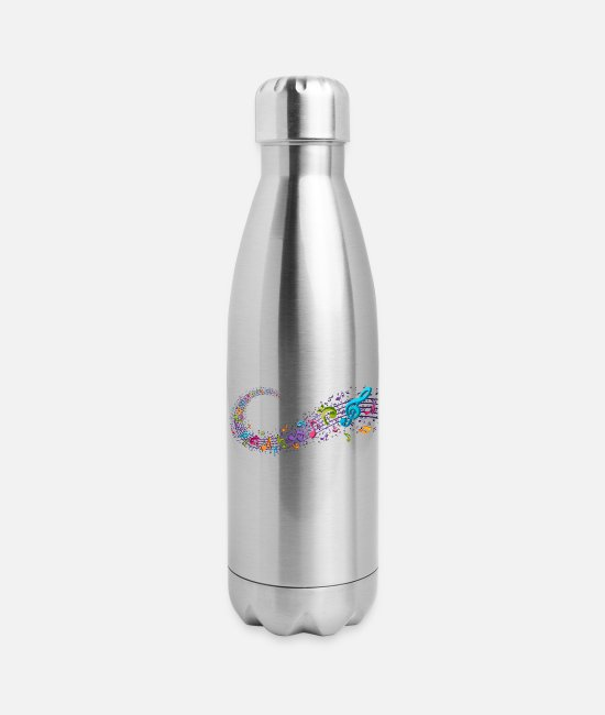 Art Mugs & Cups - Music Stream - Insulated Stainless Steel Water Bottle silver