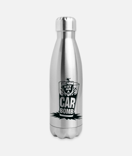 Bombshell Mugs & Cups - Buy Me A Car Bomb - Insulated Stainless Steel Water Bottle silver