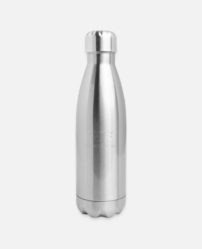 Design Mugs & Cups - WTF - Insulated Stainless Steel Water Bottle silver