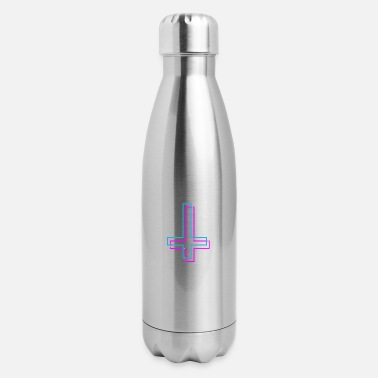 Depressed Inverted Cross Aesthetic Vaporwave Teen Gift - Insulated Stainless Steel Water Bottle