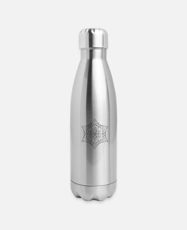 Buddha Mugs & Cups - Mandala Oldschool MANDALA Ink Tattoo Newschool Mod - Insulated Stainless Steel Water Bottle silver