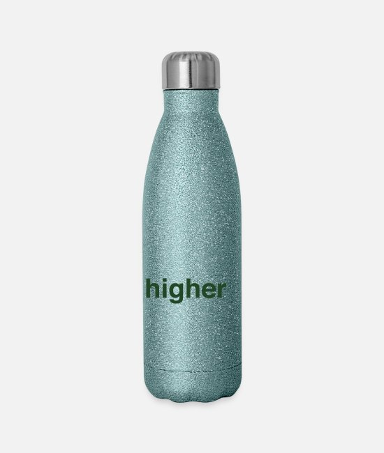 Hemp Mugs & Cups - higher state of mind - Insulated Stainless Steel Water Bottle turquoise glitter
