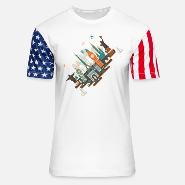 Inclined Tower A series of works everywhere I will - Unisex Stars & Stripes T-Shirt